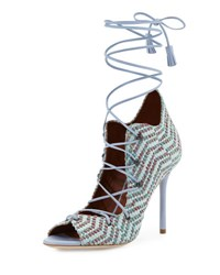 Malone Souliers Savannah Woven Lace Up Pump Green Dusty Blue Green Pattern