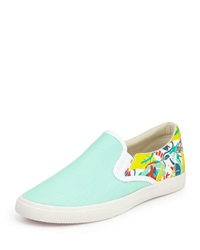 Bucketfeet Tropical Canvas Slip On Sneaker Mint White