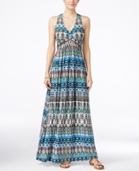 Jessica Simpson Juniors' Emilia Printed Lace Back Maxi Dress Turq Aqua Combo