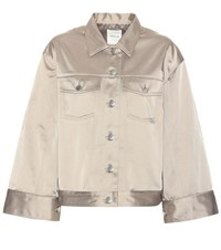 Wood Wood Pauline Satin Cotton Blend Jacket Neutrals