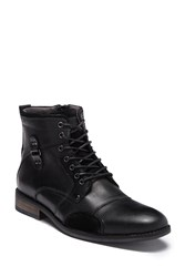 Steve Madden Senate Lace Up Boot Black Leat