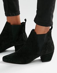 Warehouse Suede Low Heeled Chelsea Boot Black