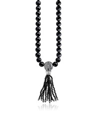 Thomas Sabo Men's Necklaces Ethno Black Sterling Silver Men's Long Necklace W Obsidian Matt And Polished Beads And Tassel