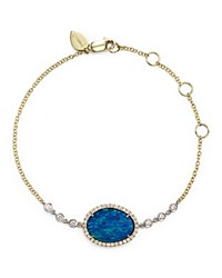 Meira T 14K Yellow Gold And White Gold Opal Bracelet With Diamonds Gold White