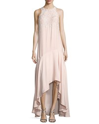 Parker Black Mimi Sleeveless Beaded High Low Gown Blush