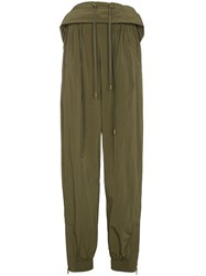 Y Project Double Layer Waistband Sweat Pants Green