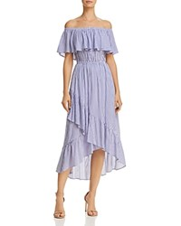 Aqua Ruffled Off The Shoulder Striped Dress 100 Exclusive Blue White