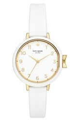 Kate Spade New York Park Row Silicone Strap Watch 34Mm White Gold