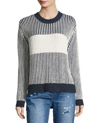 One Teaspoon Moonridge Knit Striped Sweater Blue White