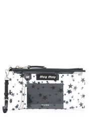 Miu Miu Star Print Clutch Bag Neutrals