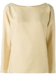 Yves Saint Laurent Vintage Boat Neck Top Nude And Neutrals