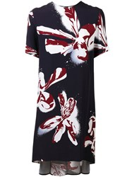 Cedric Charlier Abstract Flower Print Dress Blue