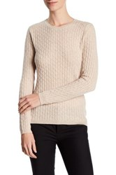In Cashmere Cable Knit Pullover Sweater Beige