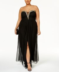 Betsy And Adam Plus Size Embellished Strapless Gown Black