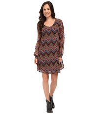 Roper 9905 Aztec Printed Georgette A Line Dress Black Women's Dress