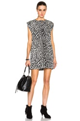 Saint Laurent Leopard Print Tunic Dress In Black White Animal Print