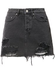 Ksubi Frayed Denim Skirt Women Cotton 24 Black