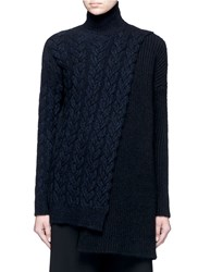 Stella Mccartney Asymmetric Wrap Mixed Cable Knit Sweater Blue