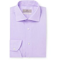 Canali Lilac Slim Fit Cotton Poplin Shirt Lilac