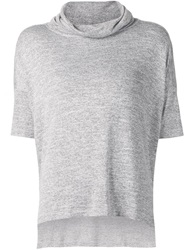 Rag And Bone Rag And Bone Funnel Neck Short Sleeve Sweater Grey