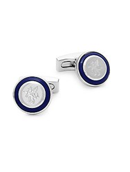 Hickey Freeman Logo Round Cufflinks Silver