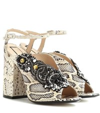 N 21 Althea 110 Printed Leather Sandals Neutrals