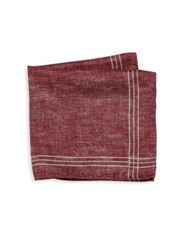 Saks Fifth Avenue Striped Double Faced Pocket Square Red Grey