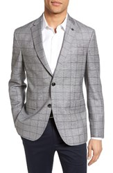 Ted Baker Men's London Trim Fit Windowpane Wool And Linen Sport Coat