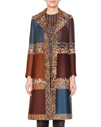 Etro Colorblock Jacquard Fitted Coat Women's Color Block