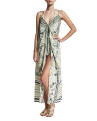Camilla Embellished Crepe Tie Front Maxi Coverup Handiras Hold