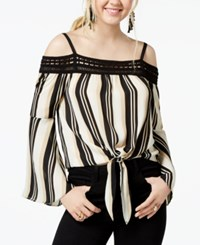 Amy Byer Bcx Juniors' Striped Off The Shoulder Top Taupe Black