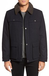 Kenneth Cole Men's New York Faux Shearling Collar Wool Blend Jacket Navy