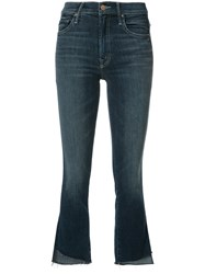 Mother Cropped Flared Jeans Blue