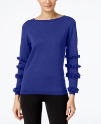 Ny Collection Ruffled Sleeve Sweater Blue