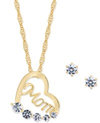 Charter Club Gold Tone Crystal Mom Heart Pendant Necklace And Stud Earrings Set Only At Macy's