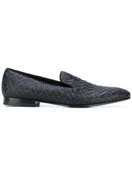 Roberto Cavalli Woven Logo Plaque Loafers Men Calf Leather Leather 46 Black