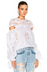 Jonathan Simkhai Crochet Embroidered Blouson Sleeve Blouse Top In White