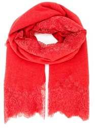 Ermanno Scervino Lace Detail Scarf Red