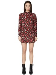 Just Cavalli Lip Printed Viscose Cady Dress