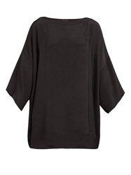 Eskandar Boat Neck Silk Crepe Blouse Black