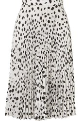 Burberry Pleated Printed Crepe De Chine Skirt White
