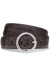 Andersons Anderson's Croc Effect Leather Belt Light Gray