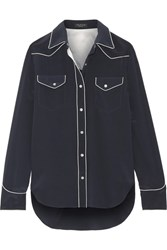 Rag And Bone Jesse Silk Crepe De Chine Shirt Navy
