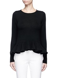 Co Ruffle Hem Wool Sweater Black