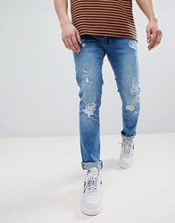Voi Jeans Skinny Fit In Ripped Blue
