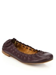 See By Chloe Jane Leather Ballet Flats Aubergine Black Biscotti