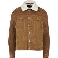 River Island Mens Brown Borg Lined Corduroy Jacket