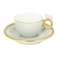 Villari Butterfly Coffee Box Set Of 2 Cups And Round Saucers Aquamarine