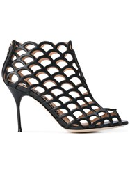 Sergio Rossi Cut Out Heeled Sandals Women Leather 37 Black