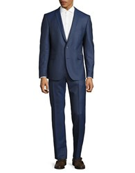 Strellson Houndstooth Two Button Suit Blue
